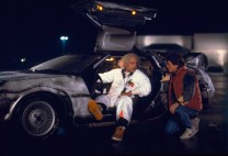 """A scene photograph from the 1985 movie """"Back to the Future."""" In the 1989 film """"Back to the Future II,"""" Marty McFly traveled to Oct. 21, 2015, a future with flying cars, auto-drying clothes and shoes that lace automatically."""
